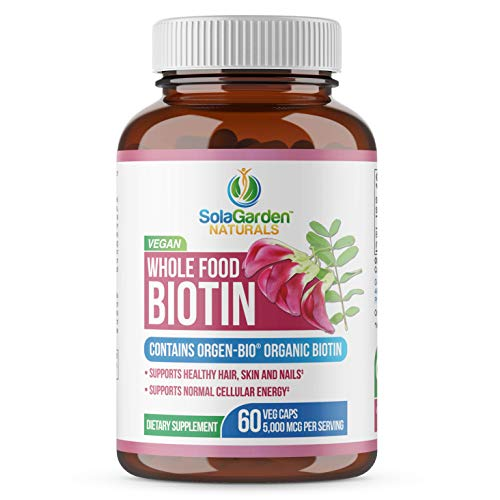 Whole Food Biotin Supplement - Contains Certified Organic Plant Based Biotin from Sesbania...