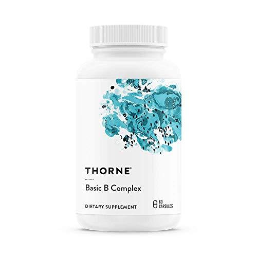 Thorne Research - Basic B Komplex - Aktiver Vitamine B Komplex- Vitamin B12 B6 Pantothensäure Niacin Biotin Folsäure Thiamin Cholin Riboflavin - Gluten Frei - 60 Vege Kapseln