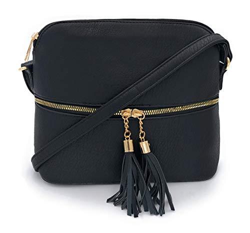 ELIOX Borsa Donna a Tracolla Piccola in PU Pelle Sintetica - Borsetta Moda- Crossbody Bag (Nero)