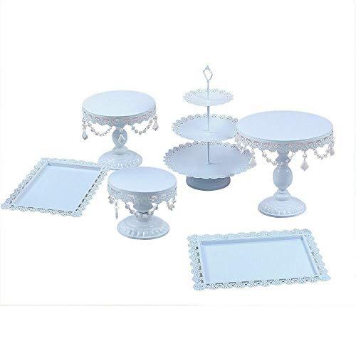 Juego de 6 moldes multifunción para tartas, bandeja de metal, soporte para postres, postres, bodas, fiestas de cumpleaños (blanco)