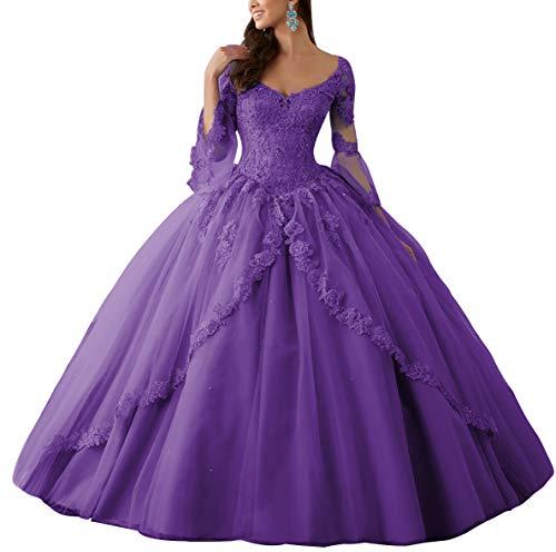 HUINI Ballkleider Lang Spitze Brautkleider Langarm Quinceanera Kleider Prinzessin V-Ausschnitt Hochzeitskleider Violett 58