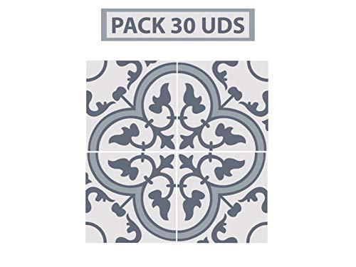 Oedim Pack 30 Vinilos Adhesivos para Suelo Positano Gris | Vinilo Ecológico | 40 x 40 cm | Autoadhesivos para Decorar o Renovar Suelo Mate, Suelos y Paredes