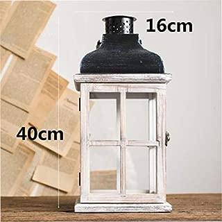ANH19 Pillar Candle Holder- Wooden Retro Candlestick Decor Glass Lantern Tealight Candle Holders Table Centerpiece Bougeoir Et Photophore Glass Lantern BZT6