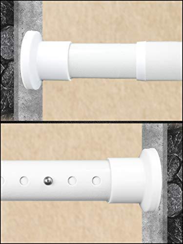 HoFactory Rostfreie Teleskopstange ohne Bohren 260-310cm, Ø32mm Weiß Multifunktionale Gardinenstange Klemmbar - Vorhangstange, Spannstange Ausziehbar - für ihre Gardinen, Trennwand und Balkon