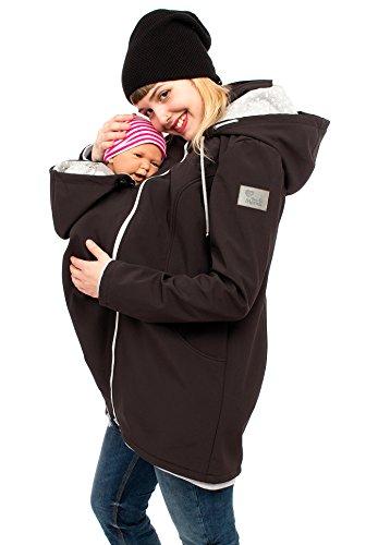 Viva la Mama - Baby Trage Jacke Umstands Jacke Softshell Damen Jacke mit Trageeinsatz Erweiterung Jacke für Vorn Tragen Winter Schwangerschafts Jacke warm - MELLORY schwarz Sterne - M
