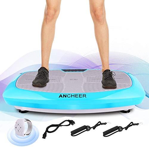 ANCHEER Ultraflache Vibrationsplatte for Fett Abbauen und Body Shaping von Hause,Extra Große Anti-Rutsch-Oberfläche,mit Leise Motor inkl. Stromkabel + Trainingsbändern + Armband-Fernbedienung