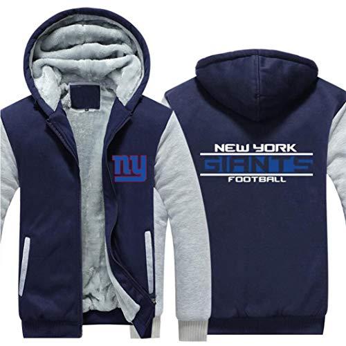XXMM Herren Pullover - NFL New York Giants Football Team Uniform Reißverschluss Plus Samt Hoodies, Unisex-Herbst-Winter Hoodie Langarm,3XL