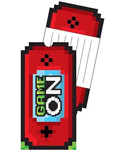 Neu: 8 Einladungskarten * Game ON * für Kindergeburtstag und Motto-Party | mit passenden Umschlägen | LAN Gaming Zocker Zocken Spielen Konsole Pixel Mottoparty Kinder Geburtstag Einladungen