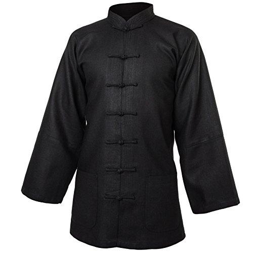 wu designs Leinen (Schwer) Kung Fu & Tai Chi Shirt Stehkragen Langarm - Taiji Anzug Schwarz 180