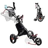 PIAOMTIEE 3 Wheel Golf Push Cart, Folding Golf Carts with Foot Brake, Height Adjustable Lightweight Golf Pull Carts w/Umbrella Holder, Cup Holder, Phone Holder, Scoreboard Storage