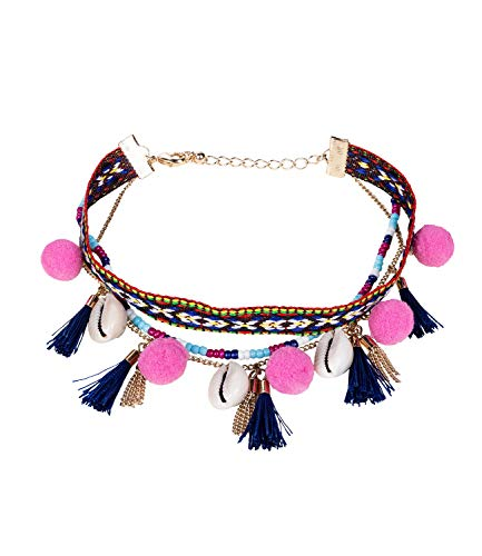 SIX Damen Fußkettchen im Festival Look mit bunten Perlen, Tasseln und pinken Bommeln, Layering Look (775-361)