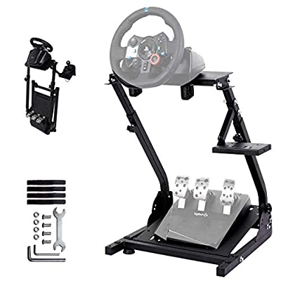 Minneer Racing Wheel Stand Height Adjustable Driving Simulator Cockpit Compatible with Logitech G25, G27, G29, G920 Gaming Cockpit (G920) (Wheel and Pedals Not Included)