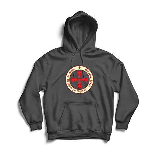 lepni.me Sudadera con Capucha El Código de los Templarios Orden de Caballero Cristiano, Cruz del Cruzado (XX-Large Grafito Multicolor)