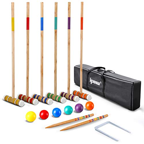IPOW 32 Inch Six Player Croquet Set with Premium Hardwood Mallets, Colored Wooden Balls, Wickets, Stakes, Carry Bag for Both Adults & Kids Use - Outdoor Sports Yard Lawn Backyard Game Set