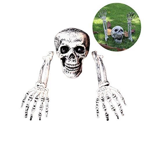 Kylewo Halloween Dekoration - 3 Stück Halloween Grausigkeit begraben Lebend Skelett Schädel Garten Hof Rasen Deko
