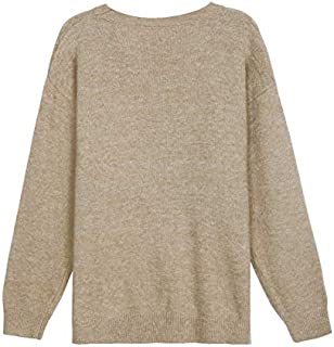 Solid Color Base Round Neck Pullover Women's Autumn Loose-Fitting Casual Sweater Women (Color : Beige, Size : M)