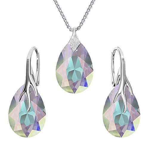 925-sterling silver jewelry set with crystals from Swarovski - Claw pear - Many colors - Earrings Necklace with pendant - Jewelry for women with a gift box (Crystal AB)