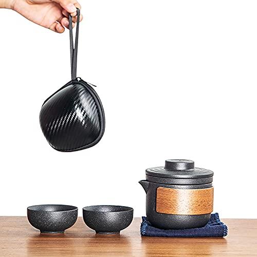 Reise Teekanne Set 1 Kanne 2 Teetassen Keramik Chinesisch Kung Fu Tee Sets mit Reißverschluss Fall für Outdoor Picknick Office Home Hotel (schwarz, Style A)