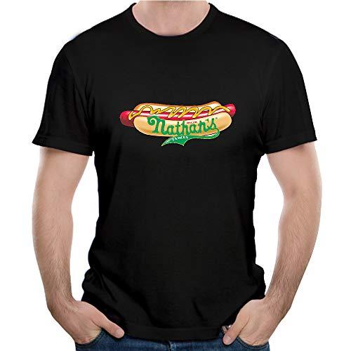 LMXOOL Famous Nathan Hotdogs Distressed Logo Men's T-Shirts Short Sleeve Black