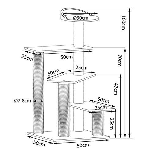 Dibea Stufen-Kratzbaum mit Kratzmatten - 7