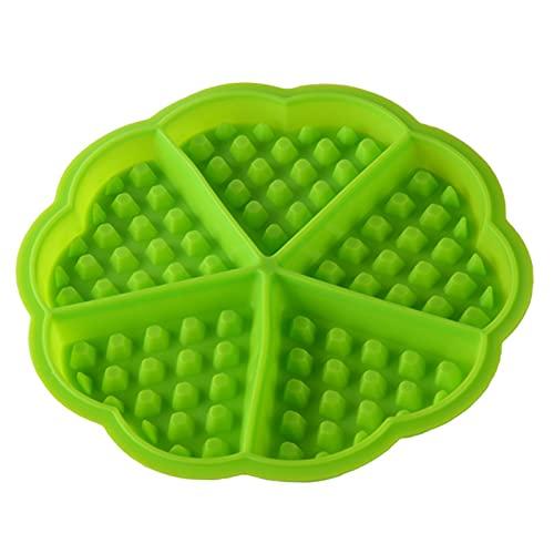 JYS365 5-Cavity Waffle Mold Non-stick Heart Shape Silicone Baking Mold Mini Cake Mold Muffin Latticed Ice Mold Green