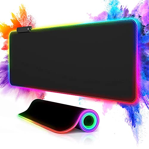 Large RGB Led Gaming Mouse Pad, Pubioh Large Mouse Pad with 12 Light Modes, Anti-Slip Rubber Base, Soft Extended Led Keyboard Mouse Mat Black 31.5×11.8×0.16 in