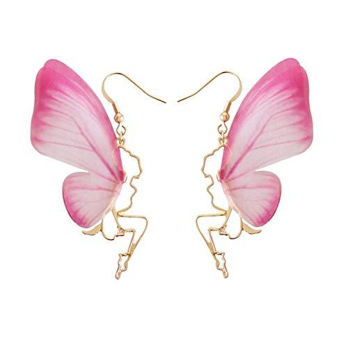 BQZB pendiente Las nuevas alas de alas de mariposa pendientes temperamento mariposa hada oído...