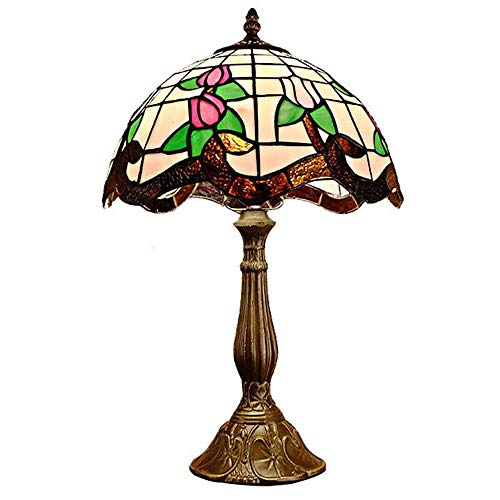 N/Z Home Equipment Style Countryside Countryside Romantic Stained Glass Study Room Decorative Table Lamp Warm Bedroom Bedside Lamp Table Light 30 * 50cm