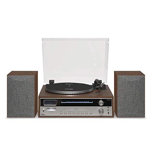 Vitrola Orpheus com Toca-discos, Rádio FM, CD, CD-R, USB, entrada e saída auxiliares e tecnologia de conexão Bluetooth com NFC, Raveo, madeira e inox, grande