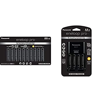 Panasonic BK-3HCCA12FA eneloop Pro AA High Capacity Ni-MH Pre-Charged Rechargeable Batteries 12 Pack & K-KJ17KHCA4A Advanced Individual Cell Battery Charger Pack