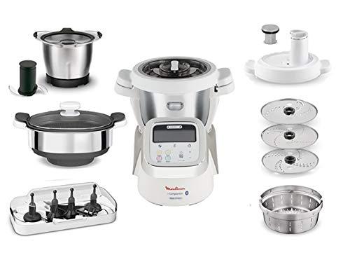 Moulinex i-Companion HF900110 - Robot de cocina Bluetooth 13 programas, hasta 6 personas, incluye cuchilla picadora, batidor, mezclador, amasador, triturador y cesta de vapor, Accesorio cortador