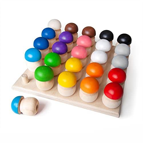 Ulanik Montessori Holzspielzeug Pilz Sortieren Lernspielzeug 25 Pilze 45mm Alter...