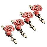 SCTD Ceramic Rose Flower Cabinet Knobs with Green Bronze...
