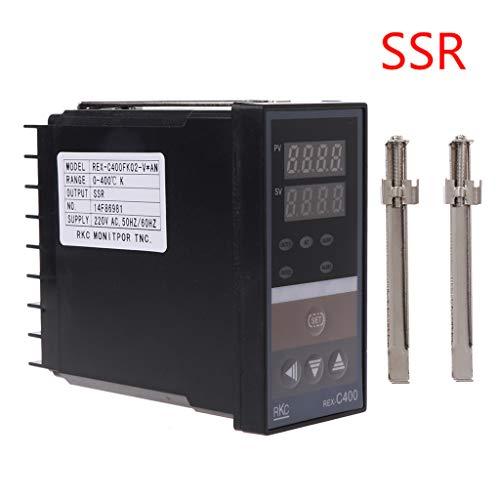 ESden PID-Digitaler Temperaturregler REX-C400K Eingang SSR Ausgang Thermostat, schwarz