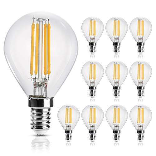 E14 LED Lampe Warmweiss, 4W Birne Ersetzt 35W Halogenlampe, P45 Leuchtmittel, Tropfenform, 2700K Warmweiß, Filament, Klar, 400 Lumen, 360° Abstrahlwinkel, Glas, Nicht Dimmbar, 10 Stück