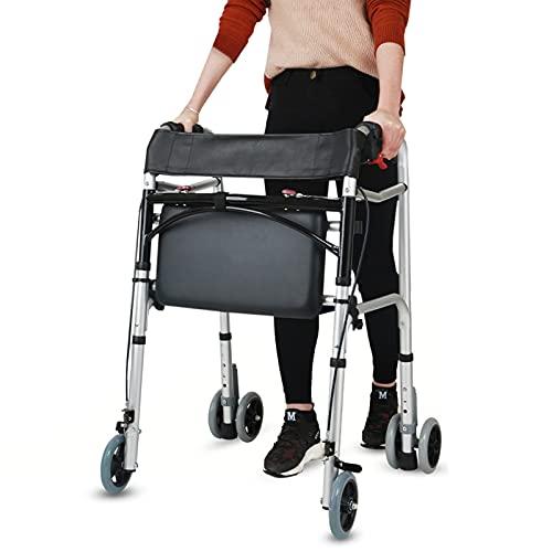 Andador Andadores para Ancianos Adultos Andador Con Asiento 400 Libras, Andadores Verticales Plegables Ajustables Para Personas Mayores Altas, Adultos Pesados Y Discapacitados, Con Freno De Mano Y Rue
