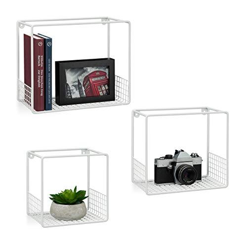 Relaxdays Wandregal im 3er Set, für Wohnzimmer, modernes Gitter-Design, Cube, eckiges Wandboard, Metall, 15cm tief, weiß