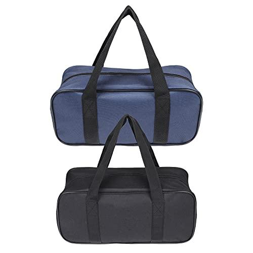 2 pezzi borsa porta attrezzi, borsa porta attrezzi da lavoro a bocca larga, borsa multiuso resistente allacqua, borsa per attrezzi resistente per elettricisti, idraulici, giardinaggio (blu + nero)