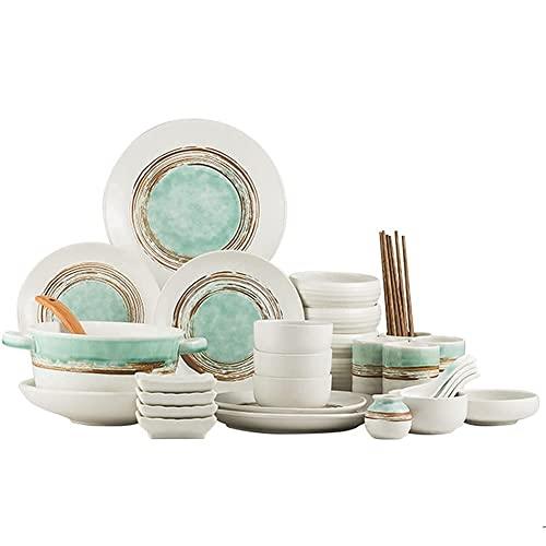 CCAN Juego de vajilla de Porcelana Creativa de Tinta Verde con Platos, Cuencos y Tazas, Juego de vajilla de cerámica para la Cocina y el Comedor del hogar, Apto para microondas y lavavajillas,