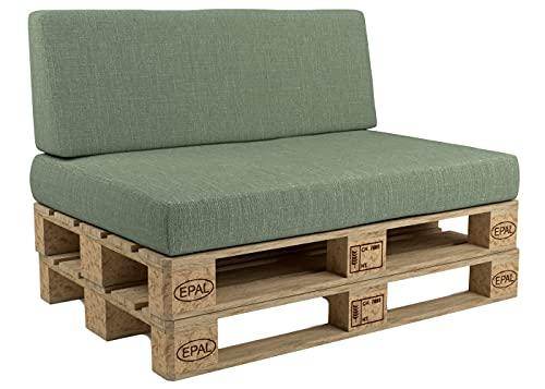 POKAR Cuscini pallet sfoderabili, set di 2: 1x cuscino per seduta 120x80cm + 1x cuscino per schienale 120x40cm, divano per pallet con cuscino per pallet, senza pallet, verde
