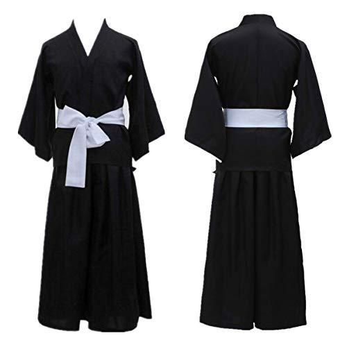 Kurosaki Ichigo Robe Cloak Coat Japanese Anime Cosplay BLEACH Costume Oriental Japanese Traditional Kimono Samurai (M, Black)