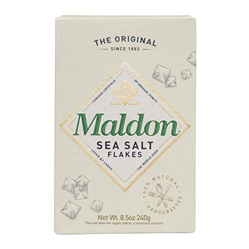 Maldon Salt, Sea Salt Flakes, 8.5 oz (240 g), Kosher, Natural, Handcrafted, Gourmet, Pyramid Crystals