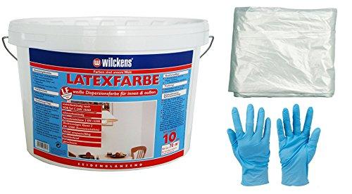 Wilckens 2,5 L Latexfarbe weiße Farbe Latex Matt hochdeckend für innen und außen strapazierfähig inkl. 4x 5m Abdeckfolie (2,5 Liter matt)