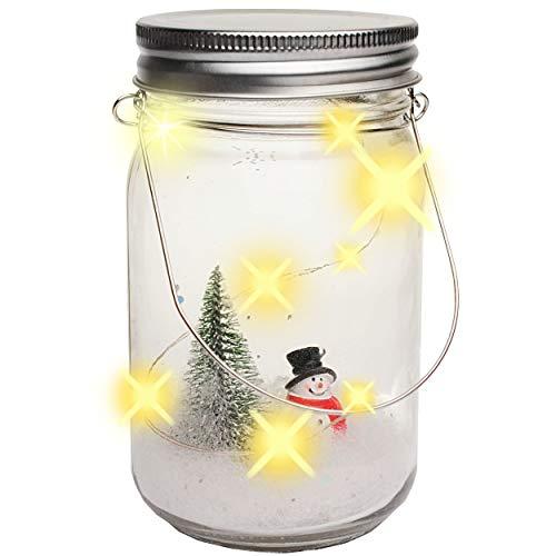 alles-meine.de GmbH LICHT Dekoglas - 5 Stück LED - Schneemann & Tannenbaum - mit Henkel - Leuchte im Einmachglas - Flasche - Weihnachtsflasche Weihnachten - Dekoflasche - Lichter..