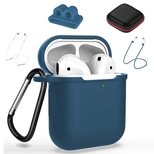 Funda de Silicona para Cápsula de AirPods, Junlic [10 In 1] Funda Protectora Compatible con Apple AirPods 1 & 2 (LED Frontal Visible Funciona con Carga Inalámbrica) Suave AirPod Accesorios–Azul Oscuro