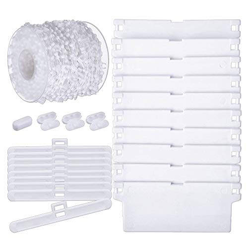 WISETOP - Juego de persianas Verticales, Incluye 12 Listones de Pesas Inferiores Blancas de 89 mm, 1 Rollo de Cadena Inferior Vertical ciega de 100 Enlaces con 10 Conectores de Cadena para el hogar