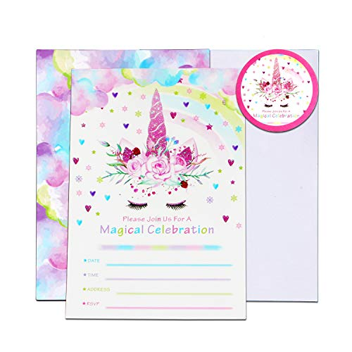 2. WERNNSAI - Invitaciones de cumpleaños de unicornios