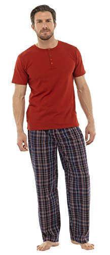 Ensemble de Pyjama T-Shirt et Pantalon Long Motif à Carreaux HT350 Homme (L) Bleu Marine
