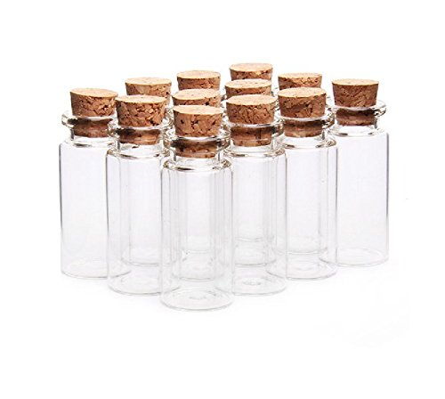 Lot de10 fioles en verre avec bouchon en liège pour message, vœux de mariage, bijoux, etc. - 10ml - Transparent