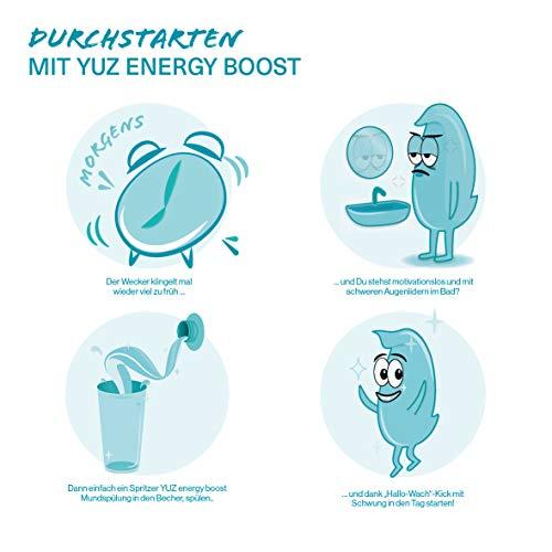"""YUZ energy boost - Mundspülung mit Koffein – """"Hallo-Wach""""-Effekt – Minzgeschmack – Fluoridhaltig – Kariesvorsorge – Umweltfreundliche Verpackung – Made in Germany"""